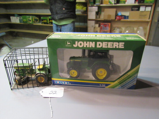 "diecast JD lawnmower in a cage + JD ""3350"" tractor W/ box"