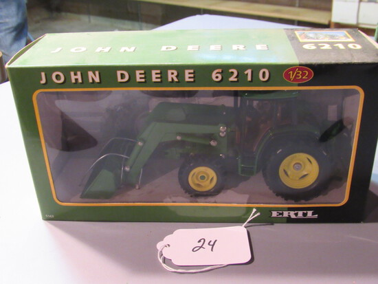 "diecast JD ""6210"" tractor with front loader W/box"