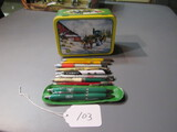 10 advertising pens with JD tin