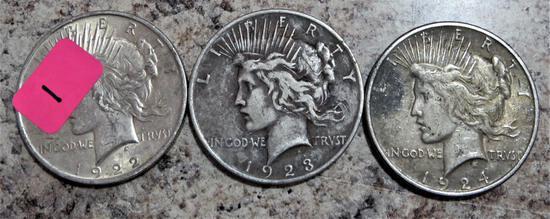 1922, 1923, 1924 Peace Dollars