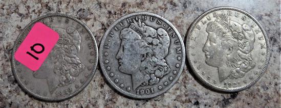 1889, 1901-O, 1921-S Morgan Dollars