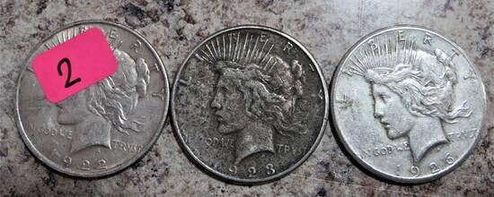 1922, 1923-S, 1926 Peace Dollars