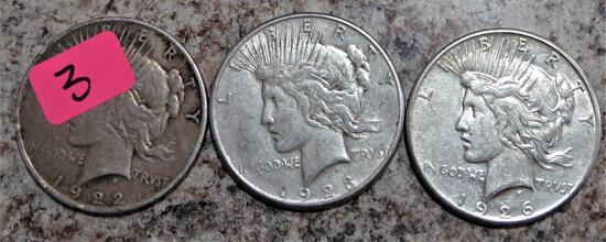 1922, 1923-S, 1926-S Peace Dollars