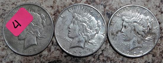 1922-D, 1923-S, 1925-S Peace Dollars