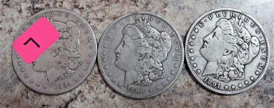 1884, 1888, 1891-O Morgan Dollars
