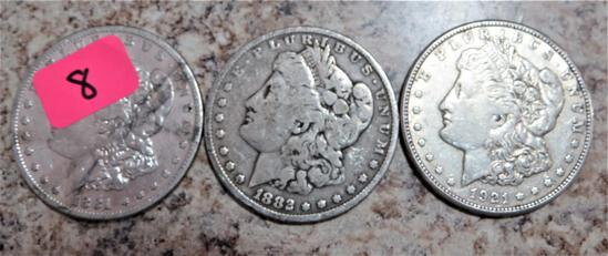 1881-S, 1882, 1921-S Morgan Dollars