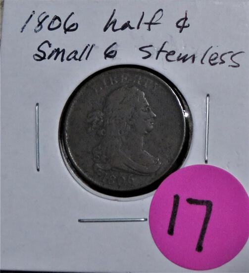 1806 Half Cent Small 6 and Stemless