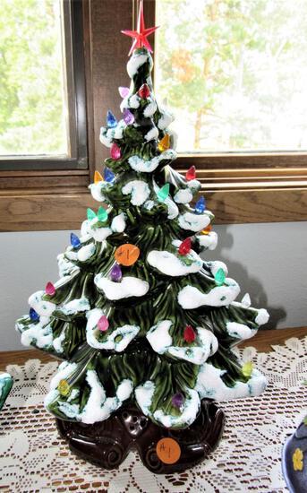 Miniature  Multicolor Light Up Christmas Tree Red Star