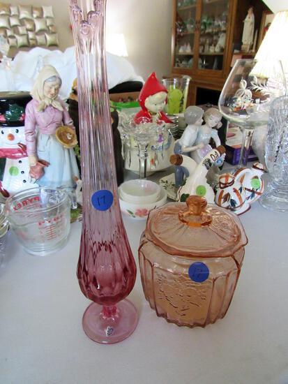 Pink Depression Glass Jar and Flower Vase