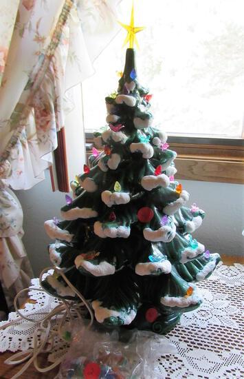 Miniature  Multicolor Light Up Christmas Tree Orange Star