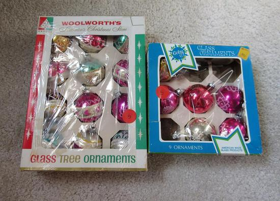 Glass Christmas Tree Ornaments in Box