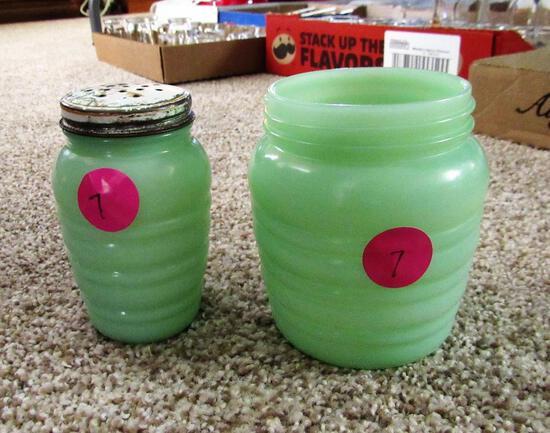Jadeite Salt Shaker and Jar
