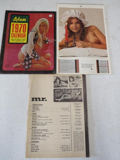 73 PLAYBOY CALENDAR,1970 ADAM CAL, OCT 66 MR MAG