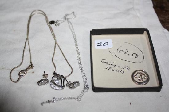 Sterling .925 Earrings, Necklaces, Heart Pendant