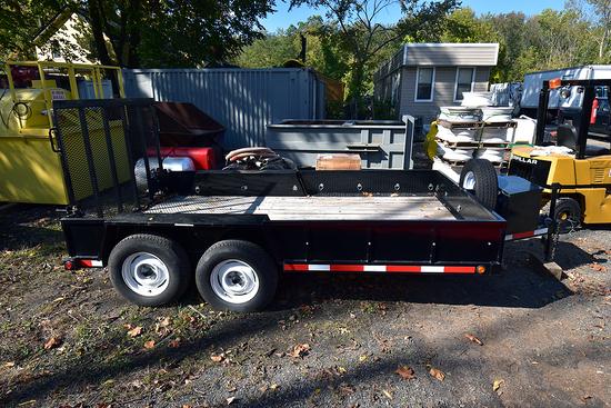 "7' w. x 12' L. Custom Tandem Axle Equipment Trailer w/Fold Down Ramp & 2"" Ball Hitch Mount"