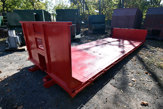 """22' L. x 8' W. Cable Style Hook-Up Roll-off Flat Bed Sled w/48"""" Bulk Head, 28"""" Rear Fold Down Ramp"""