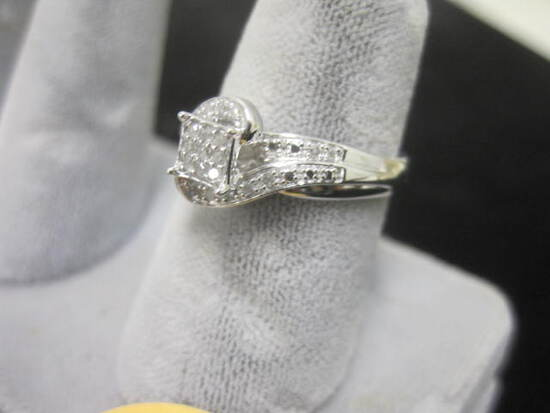 Ladies Sterling Silver & Diamond by-pass Style Ring