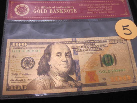 $100 Bill Gold Foiled Bank Note