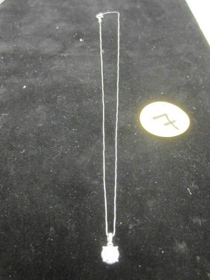 14k White Gold & Diamond Pendant & Chain