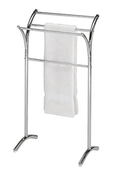 Chrome Finish Towel Rack Bathroom Stand Shelf