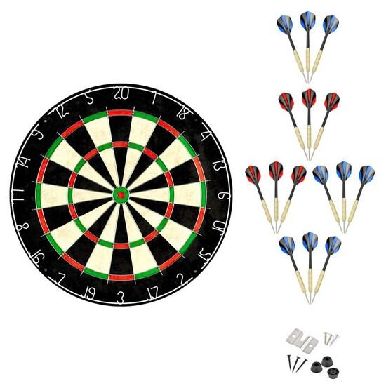 Linkvisions Sisal/Bristle Dartboard with Staple-Free Bullseye, 18g ~ SET OF 9 Steel Tip Darts Set, M