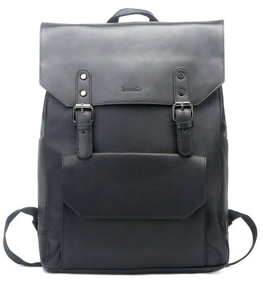 Zebella Faux Leather Backpack Vintage Leather Black Backpack Vegan Travel College Bookbag for Women