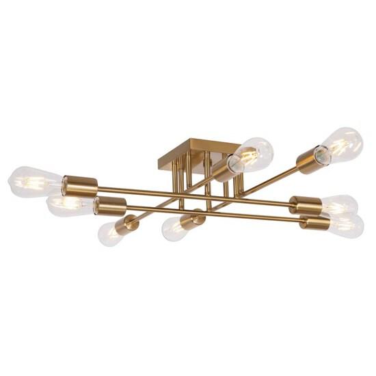 VINLUZ Modern Semi Flush Mount Light 8 Light Brushed Brass Industrial Sputnik Ceiling Light Mid Cent