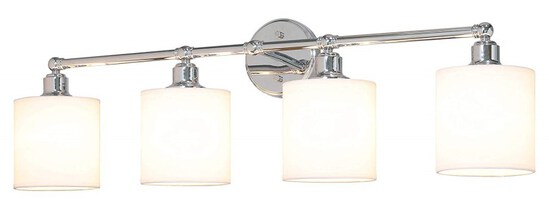 XiNBEi Lighting Wall Light, Bathroom Vanity Light with Fabric Shade, 4 Light Wall Fixture Chrome Fin