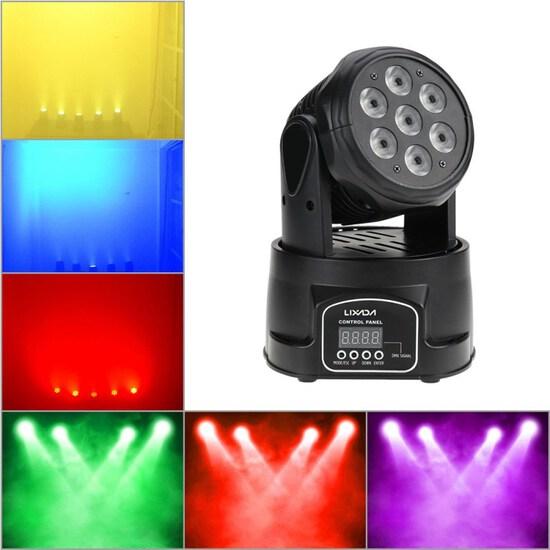 Lixada Moving Head Light 7x10WMoving Head 4 In 1 RGBW Professional 9/14 Channels DMX-512 DJ lights