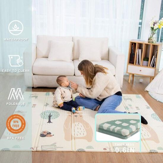 Baby Play mat, playmat,Baby mat Folding Extra Large Thick Foam Crawling playmats Reversible Waterpro
