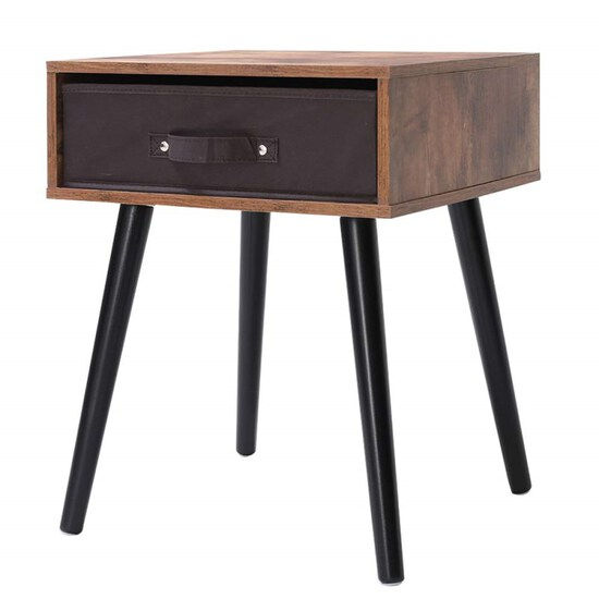 IWELL Mid-Century Nightstand, Wooden End Table with Drawer, Side Table for Small Spaces & Bedroom, S