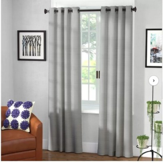 Andover Solid Blackout Thermal Grommet Single Curtain Panel Gray