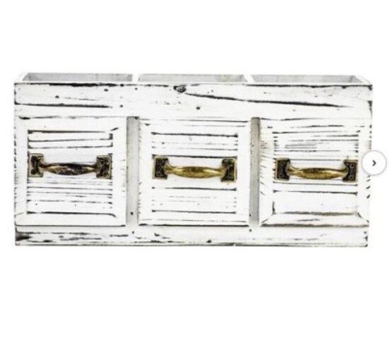 Rustic Farmhouse Distressed Wooden Flatware Caddy