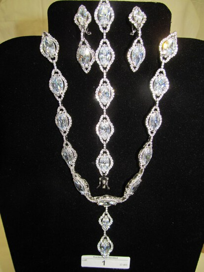1 STERLING SILVER AND CZ 3 PC. DEMI SET