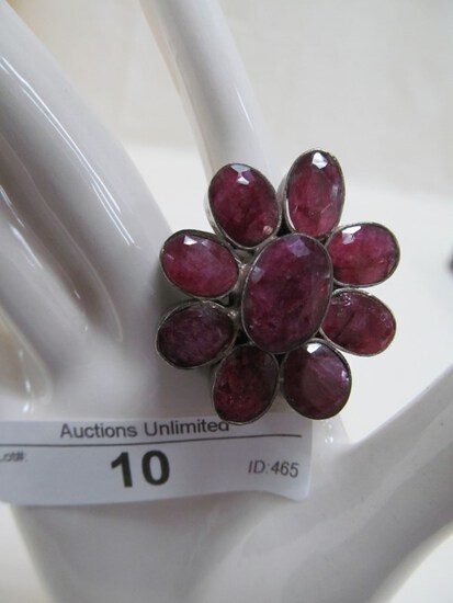 10 STERLING SILVER RUBY RING 7.5