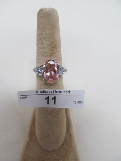 11 STERLING SILVER PINK TOPAZ RING