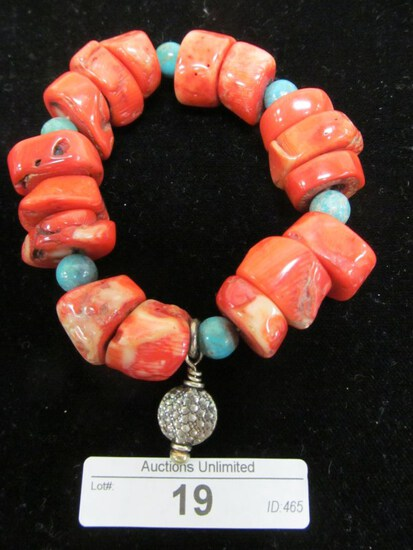19 CORAL & TURQUOISE STRETCH BRACELET