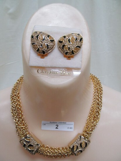 2 DIOR NECKLACE AND CLIP EARRINGS