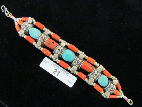 21 STERLING SILVER TURQUOISE CORAL BRACELET