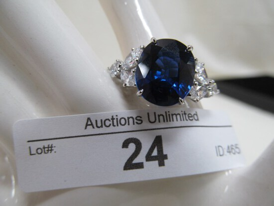 24 STERLING SAPPHIRE & CZ RING APPROX. SIZE 7