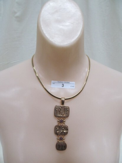 3 14K  NECKLACE AND 3 BLOCK EGYPTIAN STYLE P100ENDENT