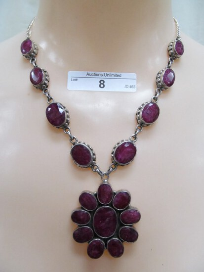 8 STERLING SILVER RUBY NECKLACE