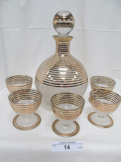 CLEAR WITH GOLD ACCENTS SMALL 6 PC. DECANTER SET