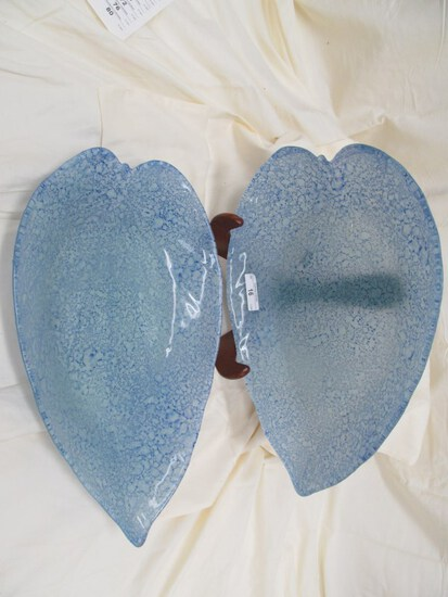 "2 PC. BLUE GLASS LEAF SHAPED PLATTERS 15.5"" x 10"""