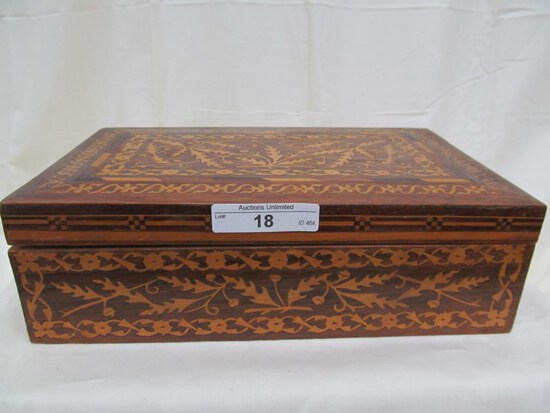 "WOODEN INLAID BOX 5.75"" x 2.75"""