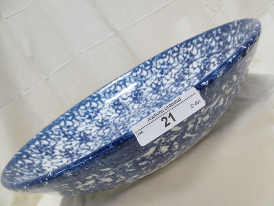 SPONGED BLUE BOWL 13""