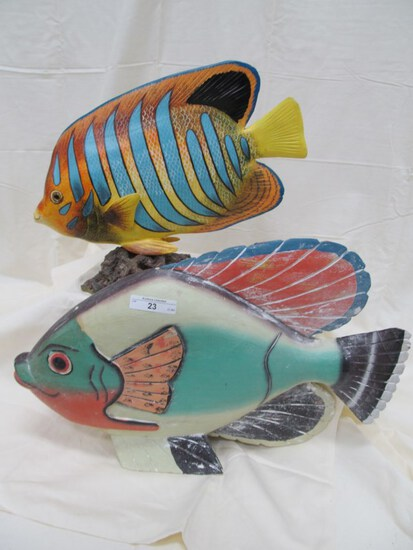 PAIR OF WOOD CARVED FISH