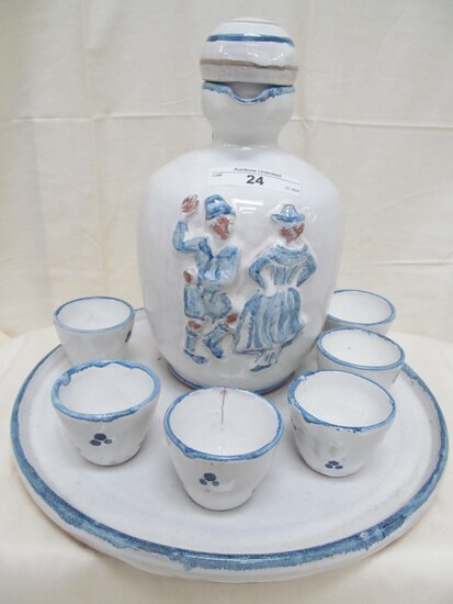 "8 PC. SET POTTER PITCHER & CUPS WITH DUTCH DANCERS PITCHER 8"" & CUPS 1"" & PLATTER 9.25"" note: one cu"