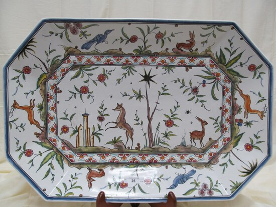 "HAND PAINTED DECORATIVE PLATTER WITH FOREST ANIMALS PRINT 22.5"" x 15"""
