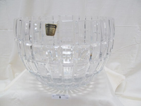 "LARGE POLONIA HAND CUT LEAD CRYSTAL BOWL 8"" x 9.75"""